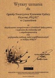 Dyplom - wyróżnienie PFRON