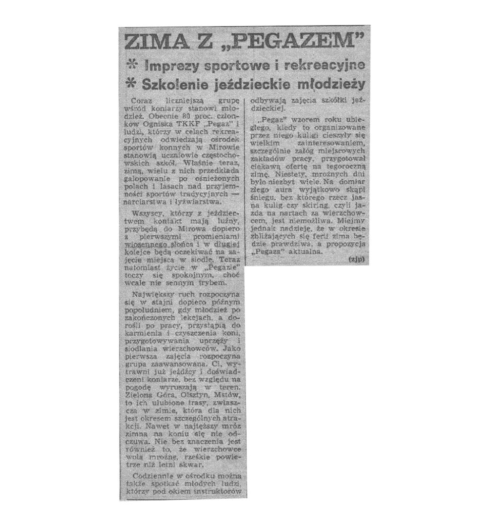 """Artykuł p.t. Zima z """"Pegazem"""". Wycinek z gazety. (1983 r.)"""